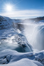 Preview iPhone wallpaper Gullfoss falls, waterfall, thick snow, sunshine, winter, Iceland
