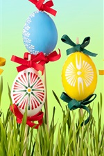Preview iPhone wallpaper Happy Easter, flowers, eggs, grass, spring
