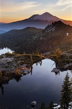 Preview iPhone wallpaper Heart Lake, mountains, trees, sunset, clouds, USA