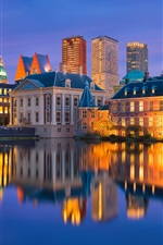 Preview iPhone wallpaper Holland, backlight, water reflection, city, evening, lights