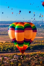 Preview iPhone wallpaper Hot air balloons, river, trees, houses, New Mexico, USA