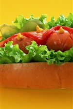 Preview iPhone wallpaper Hot dog, sausage, greens, food