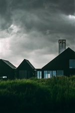 Preview iPhone wallpaper Houses, grass, clouds, storm before