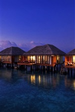 Preview iPhone wallpaper Houses on water top, warmth, night, lights, resort