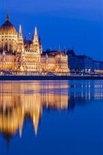 Preview iPhone wallpaper Hungarian Parliament building, Danube, Hungary, river, illumination, night