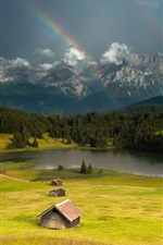 Preview iPhone wallpaper Huts, grass, mountains, lake, trees, storm, rainbow