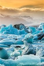 iPhone壁紙のプレビュー アイスランド、ヨークルスアゥルロゥン、氷河、青い氷、雲