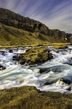 Preview iPhone wallpaper Iceland, river, stream, mountain, dusk