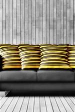 Interior, black sofa