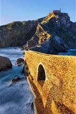 Preview iPhone wallpaper Island, bridge, sea, mountain, Spain