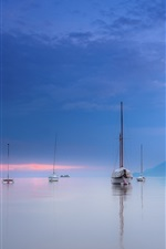 Preview iPhone wallpaper Italy, Garda, mountains, lake, yachts, dusk, clouds