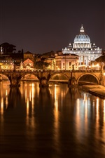 Preview iPhone wallpaper Italy, Rome, bridge, cathedral, river, lights