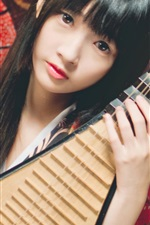 Preview iPhone wallpaper Japanese girl, musical instrument, Pipa, red umbrella