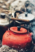 Preview iPhone wallpaper Kettle, fire, smoke