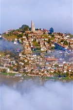 Preview iPhone wallpaper Lake Patzcuaro, Janitzio Island, Mexico, city, fog, houses