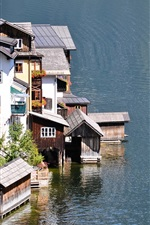 Lake, houses, town, water
