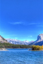 Preview iPhone wallpaper Lake, mountains, trees, island, blue sky