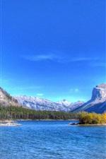 Lake, mountains, trees, island, blue sky