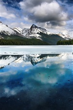 Preview iPhone wallpaper Lake, mountains, winter, snow, water reflection, Alberta, Canada