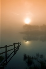 Preview iPhone wallpaper Lake, trees, hut, heavy fog, morning