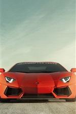 Lamborghini Aventador LP700-4 orange car front view, road