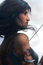 Preview iPhone wallpaper Lara Croft, Tomb Raider, bow, art drawing