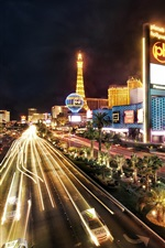 Preview iPhone wallpaper Las Vegas city night, buildings, road, lights, illumination
