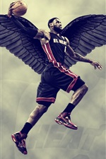 Preview iPhone wallpaper Lebron James, basketball, black wings, creative design