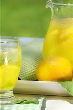 Preview iPhone wallpaper Lemon drinks, bottle, glass cup