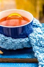 iPhone обои Лимонный чай, синяя чашка, шарф