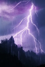 Preview iPhone wallpaper Lightning, mountains, silhouette, rain