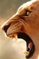 Preview iPhone wallpaper Lion roaring, teeth, mouth, head
