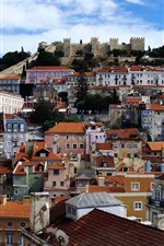 Preview iPhone wallpaper Lisbon, Estremadura, Portugal, city, houses