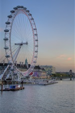 Preview iPhone wallpaper London, Thames river, ferris wheel, bridge, dusk