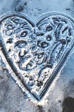Love heart, snow, winter