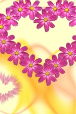 Preview iPhone wallpaper Love hearts flowers, pink petals