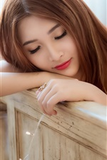 Preview iPhone wallpaper Lovely Asian girl sleeping