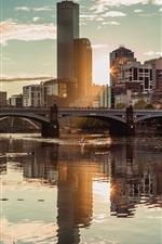 iPhone обои Мельбурн, Австралия, небоскреб, городской пейзаж, река, мост, солнце