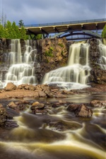 Preview iPhone wallpaper Minnesota, waterfall, Gooseberry Falls, USA