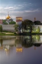Preview iPhone wallpaper Monastery, Moscow, evening, river, water reflection