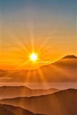 Mount Fuji, sunrise, fog, mountains, Japan
