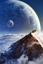 Preview iPhone wallpaper Mountains, snow, winter, planets