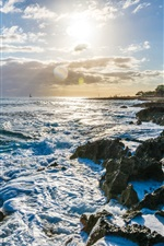 Preview iPhone wallpaper Nanakuli, Hawaii, USA, sea, coast, waves, clouds, sun