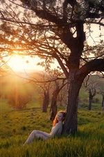 Preview iPhone wallpaper Nature, grass, trees, girl, sunrise