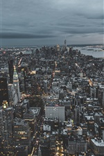 Preview iPhone wallpaper New York city top view, skyscrapers, dusk, USA