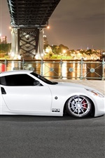 Preview iPhone wallpaper Nissan 370Z white car, night, city