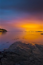 Preview iPhone wallpaper Norway, bay, sea, archipelago, trees, sunset