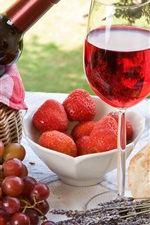 Preview iPhone wallpaper Outdoor, picnic, bread, cake, strawberries, grapes, wine, glass cup