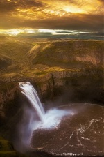 Preview iPhone wallpaper Palouse waterfall, canyon, river, morning, Washington, USA
