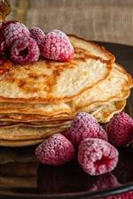 Preview iPhone wallpaper Pancakes, raspberries, honey